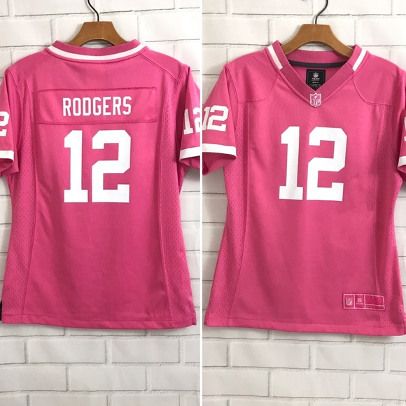 factory price 16d3b 283aa Nike Rodgers Jersey Green Bay Packers Pink Girls
